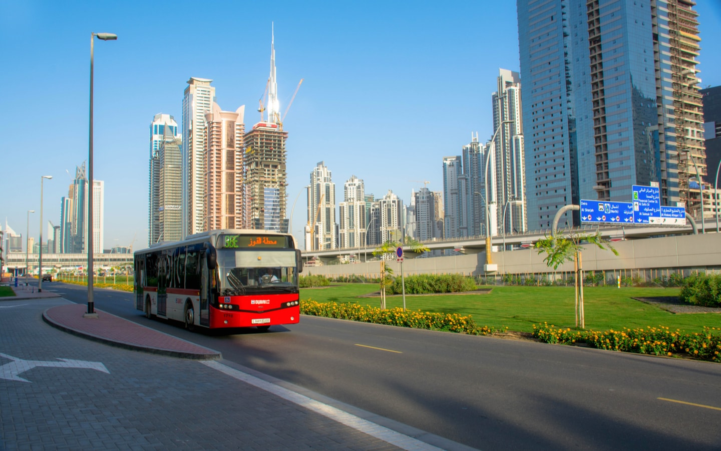 RTA Bus on the road near Business Bay