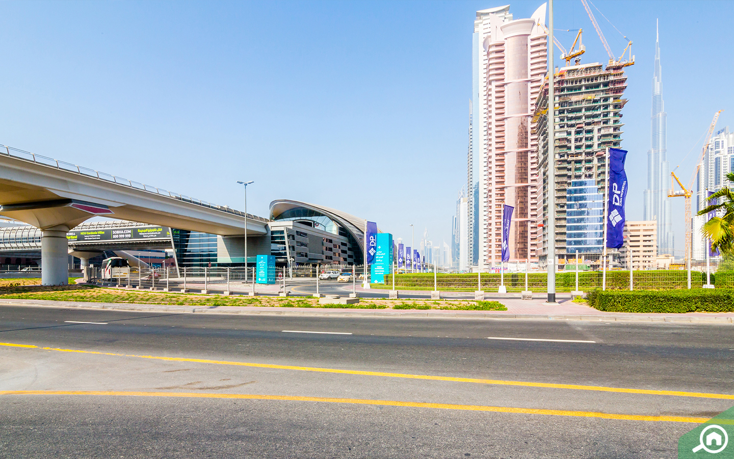 View of Business Bay metro station