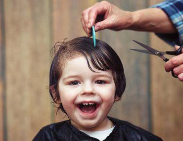 A baby boy hair cut in a kids salon in Dubai