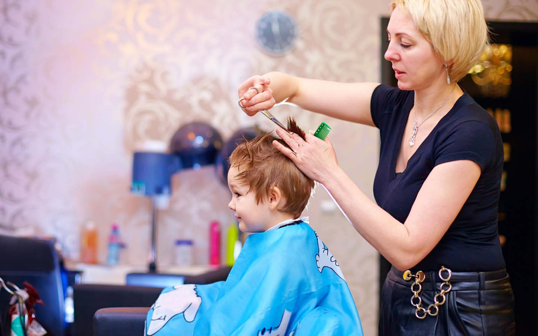 Hair cutting in a kids Salon