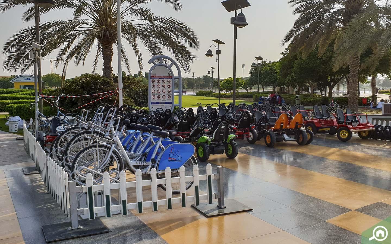 Bikes for rent at Barsha Pond Park - Family Friendly Parks in Dubai