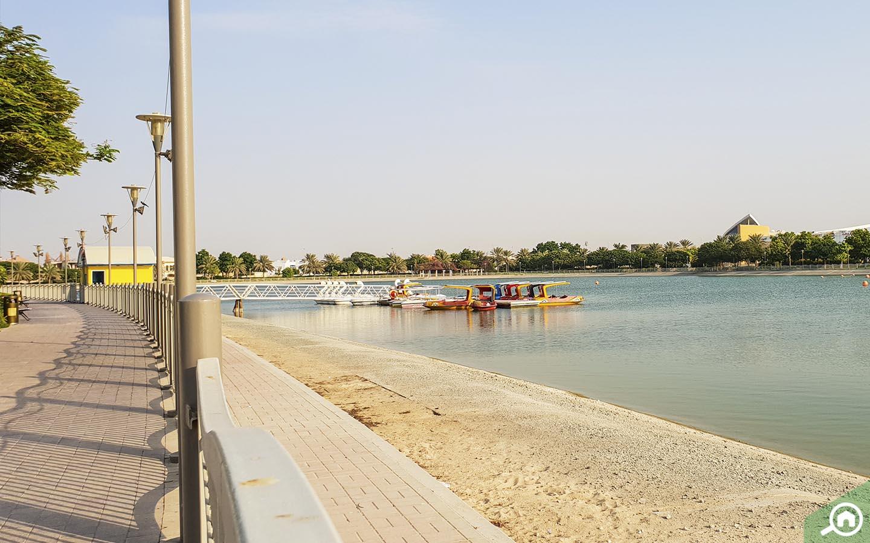 Man made lake in Barsha Pond Park in Dubai