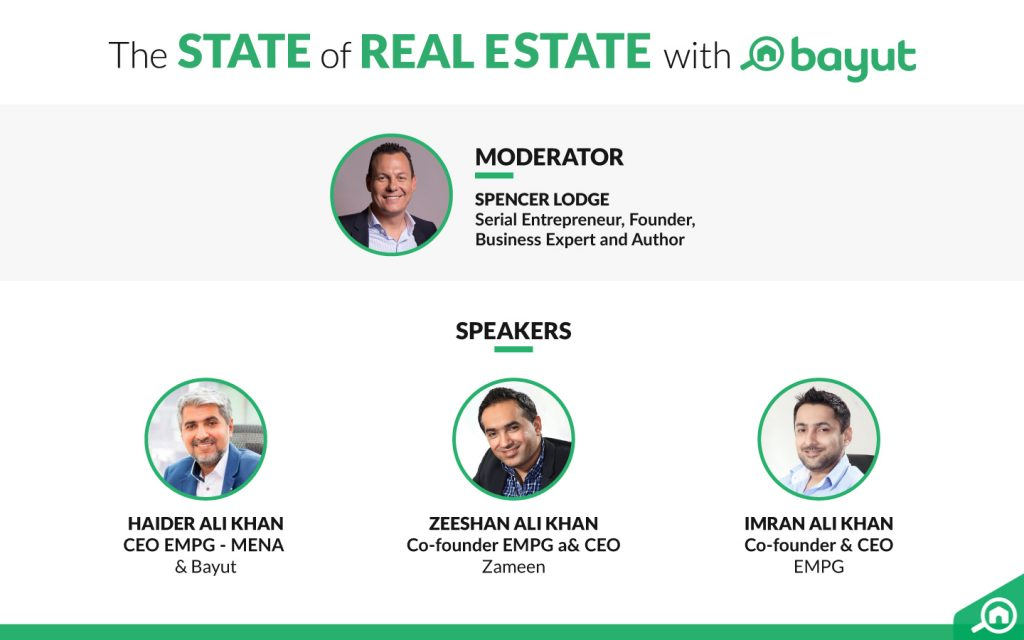 Image showing the moderator and speakers from EMPG Properties at the seventh Bayut Webinar
