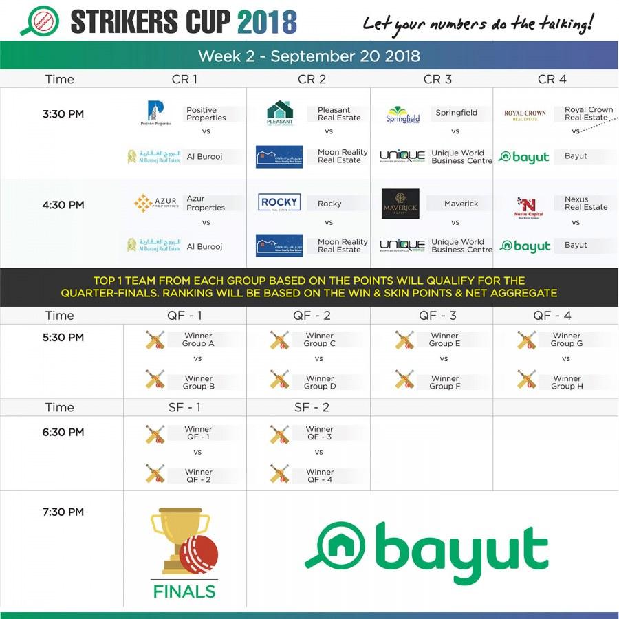 Bayut Strikers cup schedule