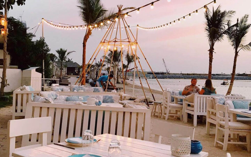 Fish Beach Taverna outdoor seating area