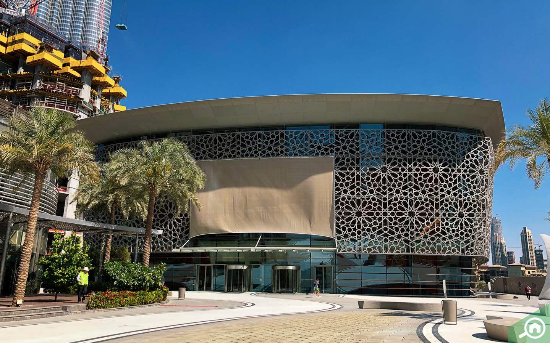 The beautiful exterior of the Dubai Opera