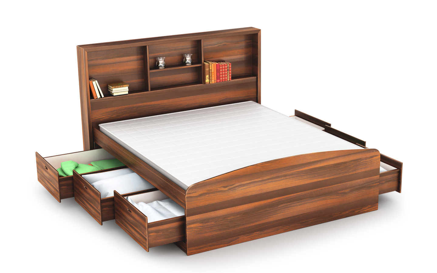 Bed with drawers as storage ideas for small spaces
