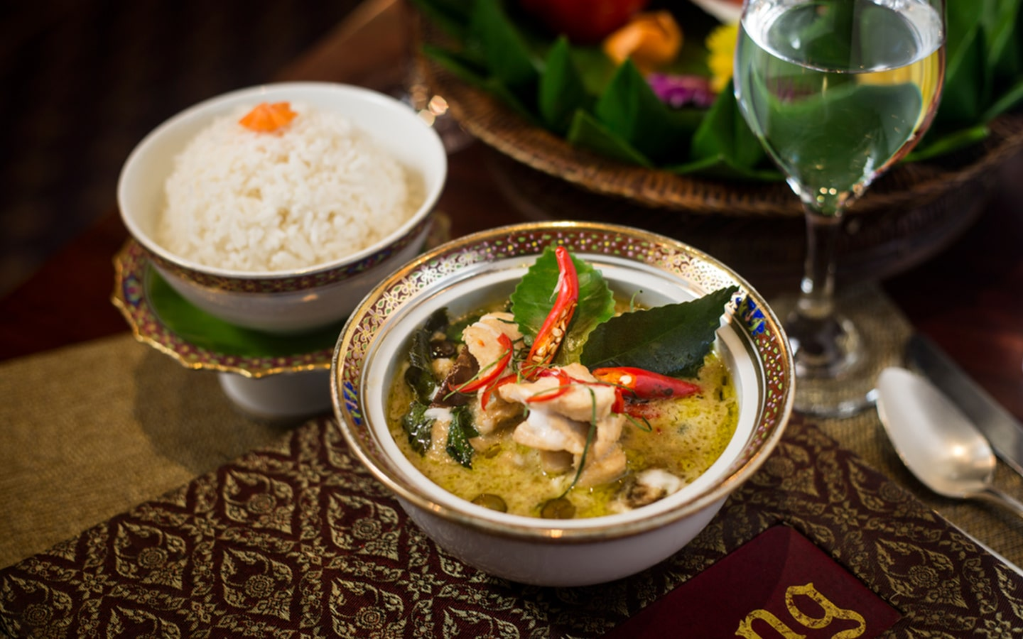 Thai Green Curry with Rice at Benjarong Restaurant in Dusit Thani Restaurant