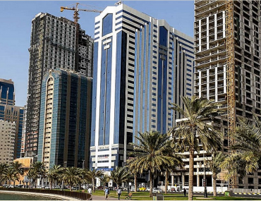 View of the best buildings to rent apartments in Sharjah