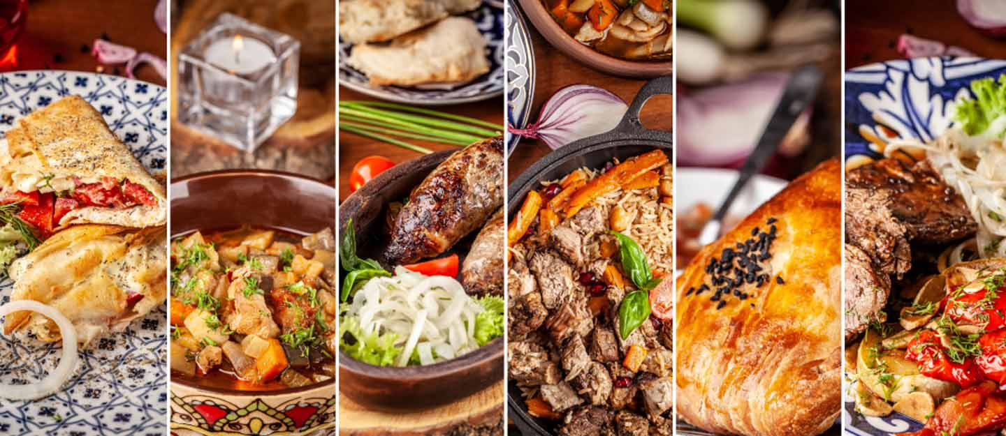 Food from various cuisines