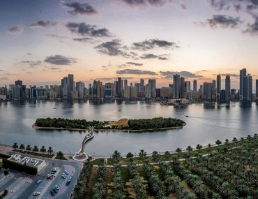 Image of Sharjah coastline and corchine in the evening