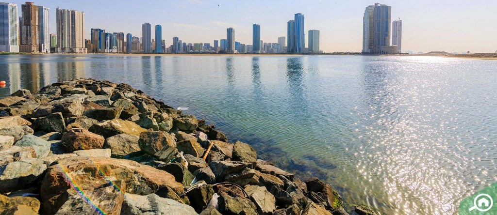 View of waterfront residential area in Sharjah