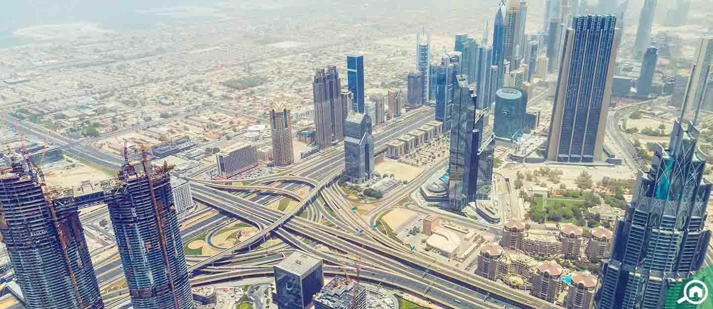 top view of buildings in Dubai