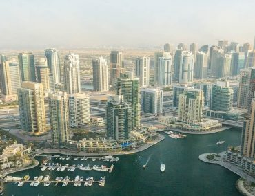 Overhead view of Dubai Marian with residential and commercial buildings in view