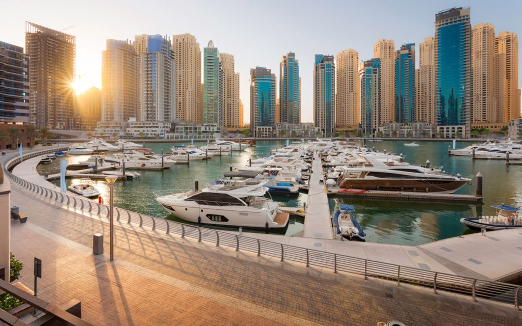 A beautiful sunset view of Dubai Marina Walk