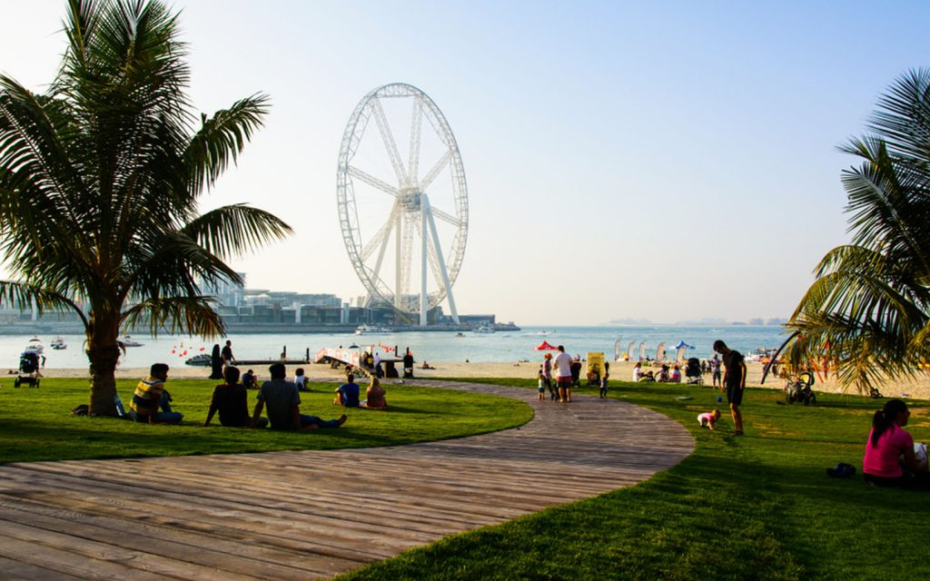 JBR Beach features a stunning view of Ferris Wheel Al Ain Dubai