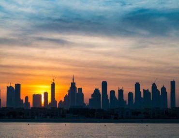 sunrise in Dubai at Burj Khalifa