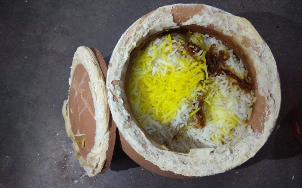 Biryani in Abu Dhabi cooked in a traditional clay pot