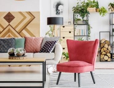 Boho chic decor in living room
