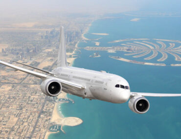 Aircraft from budget airlines in the UAE flying above Dubai