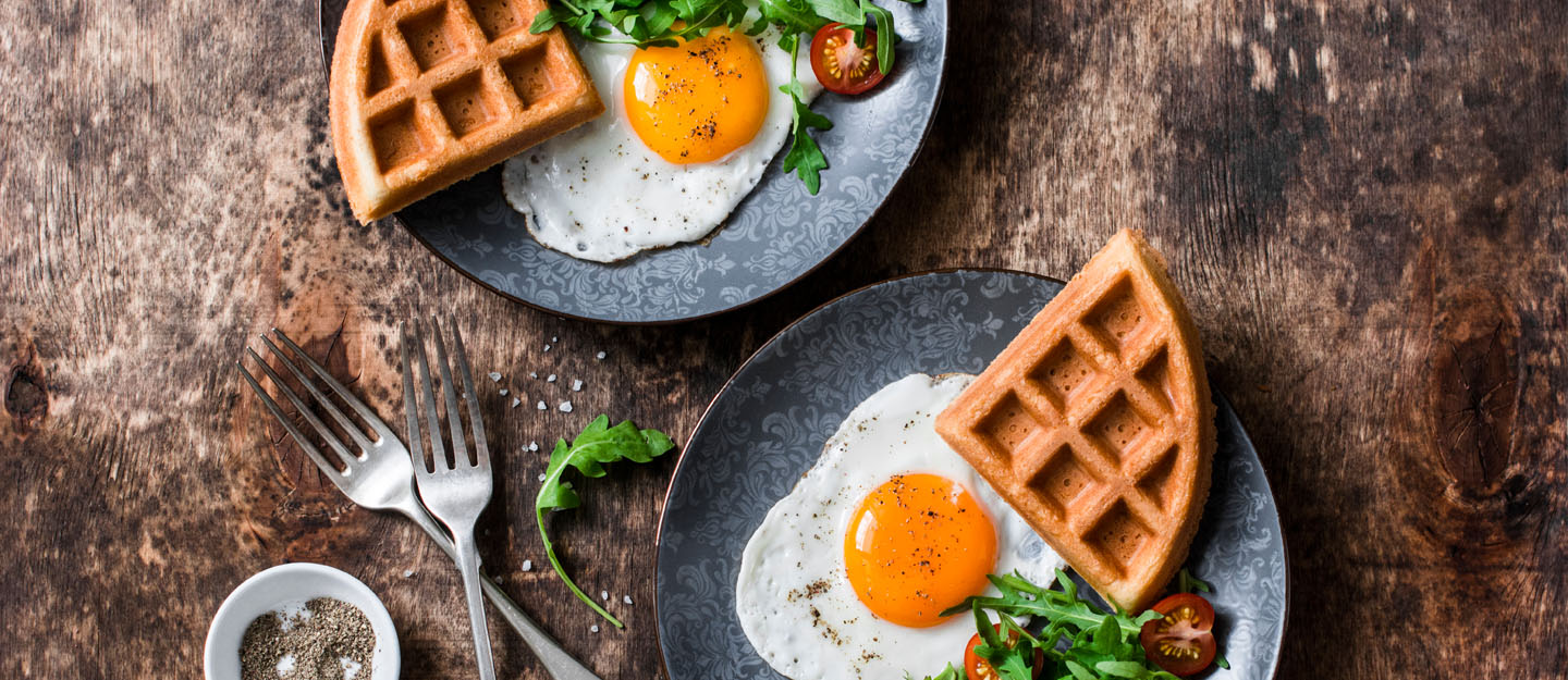 Eggs and waffles