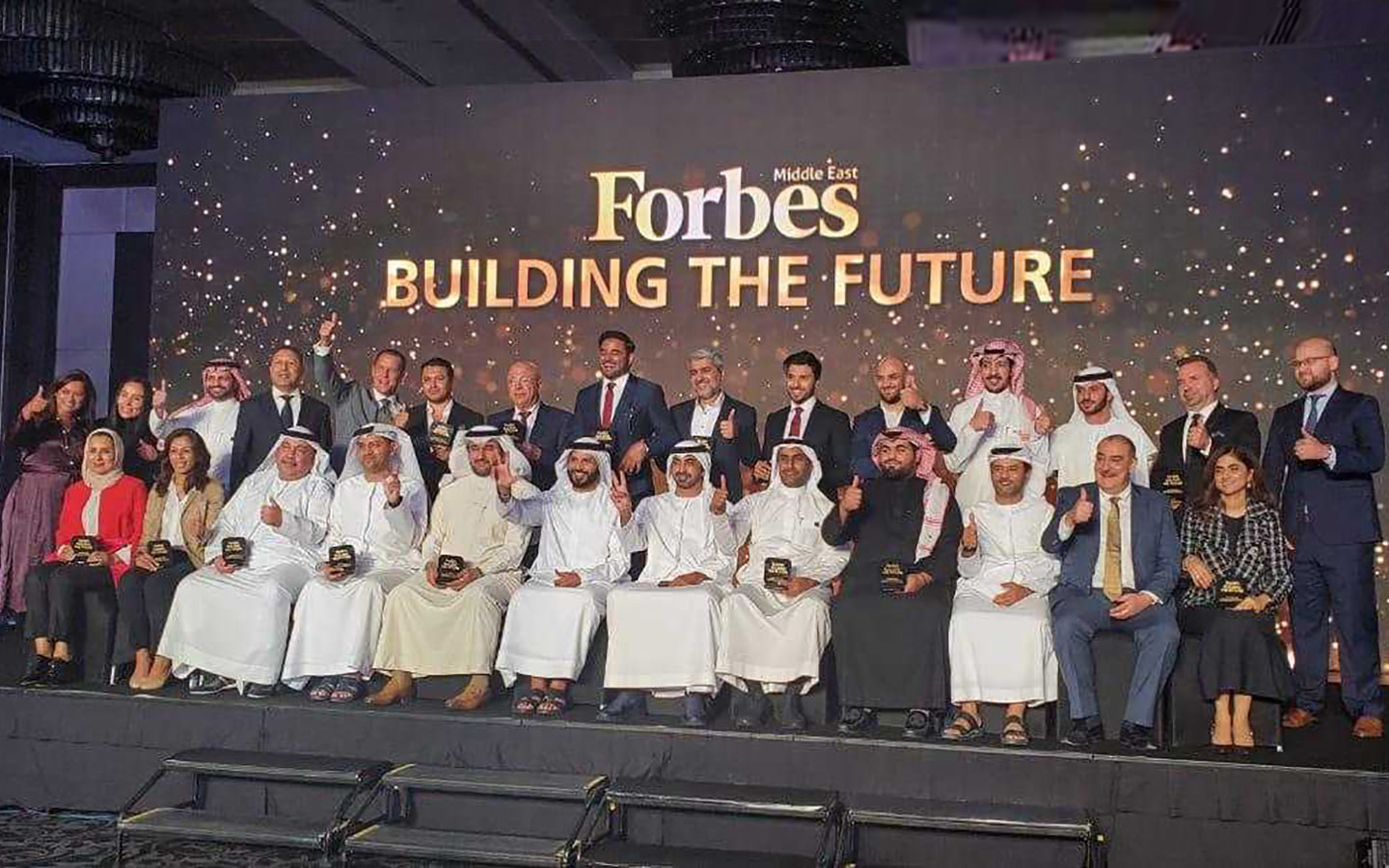 Award winners on stage at the Forbes ME Building the Future event
