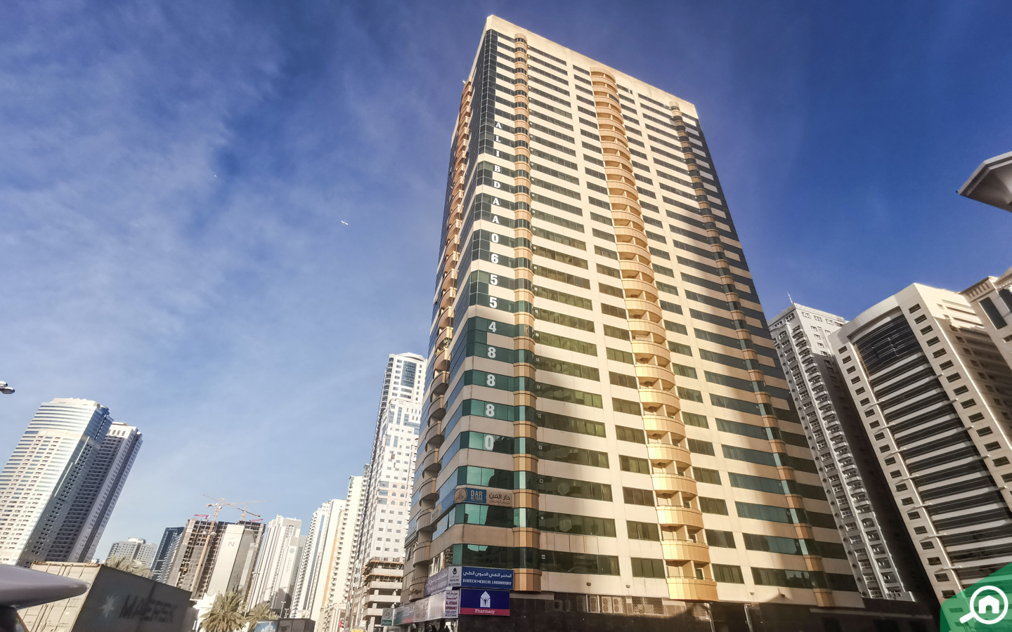Outside view of flats for rent in Al Taawun Sharjah
