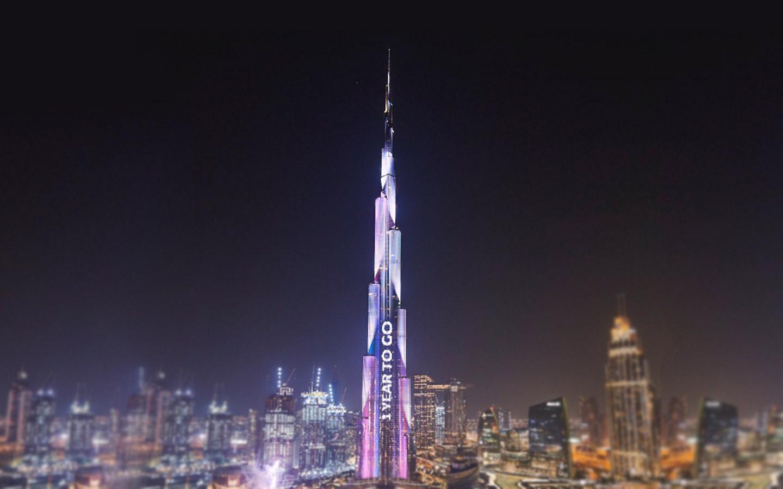 View of Burj Khalifa for the Expo 2020 countdown