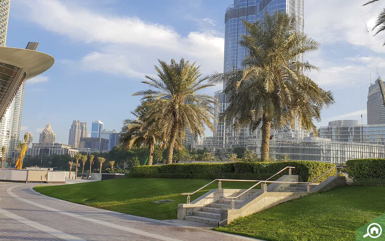 Burj Park near Burj Khalifa in Dubai