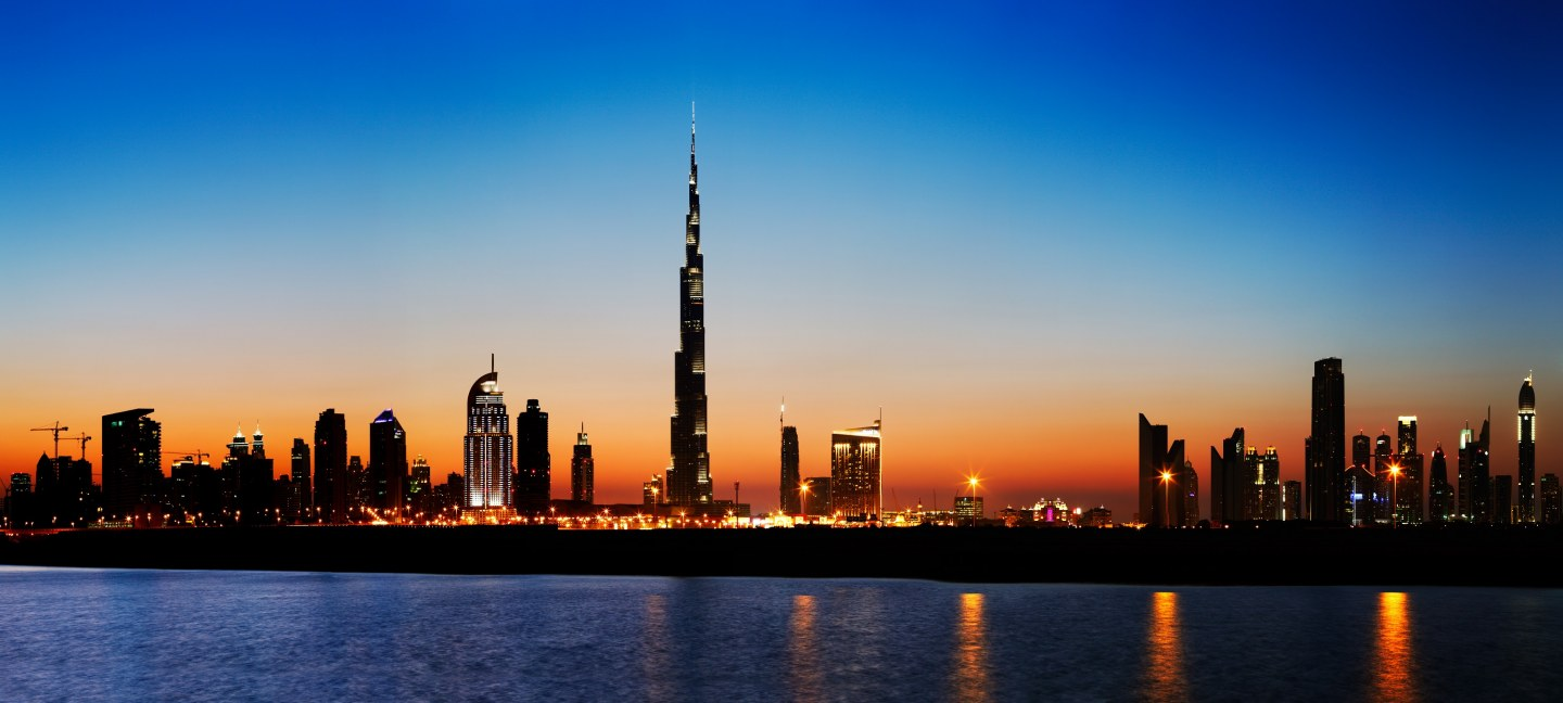 Dubai's Burj Khalifa and other buildings with apartments