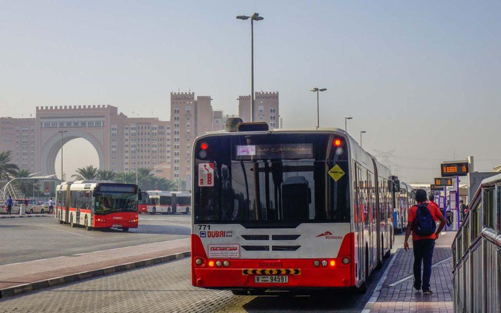 Dubai bus at a bus station