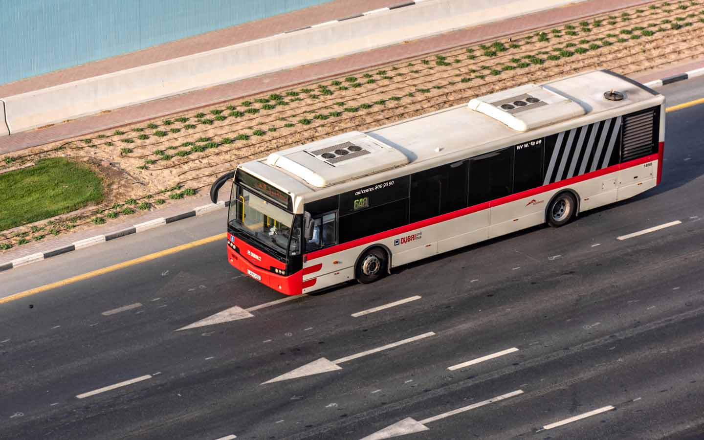 Bus on a road in Dubai