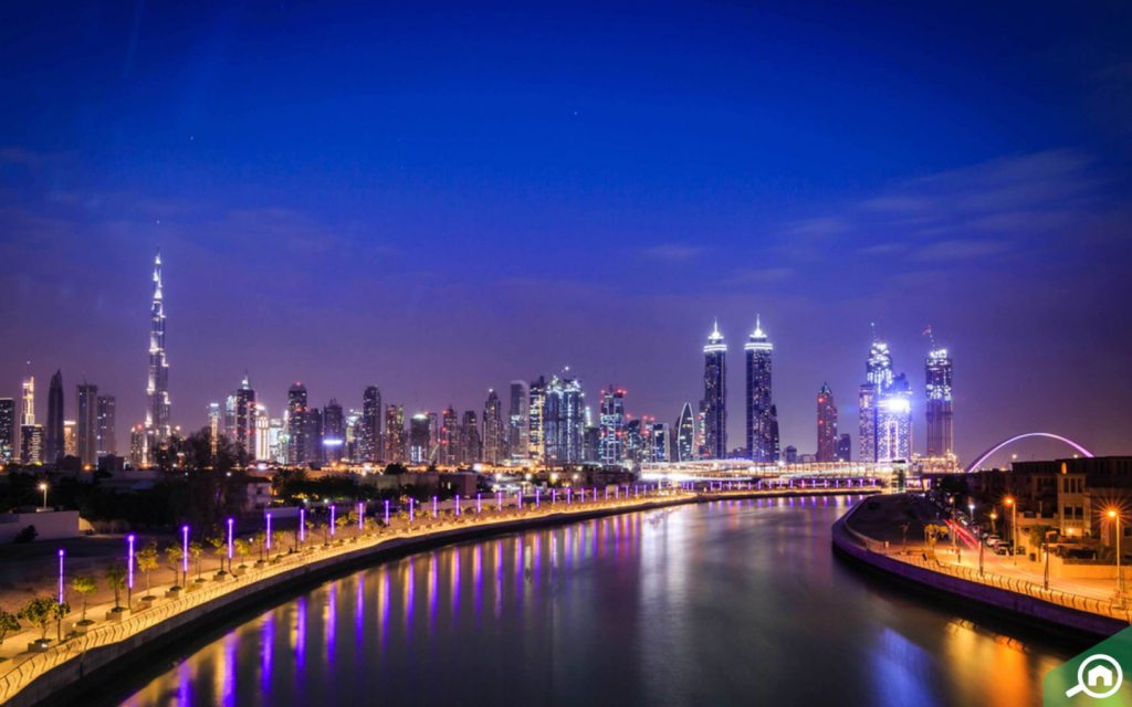 View of the Dubai Canal and Business Bay area, which has luxurious houses in Dubai