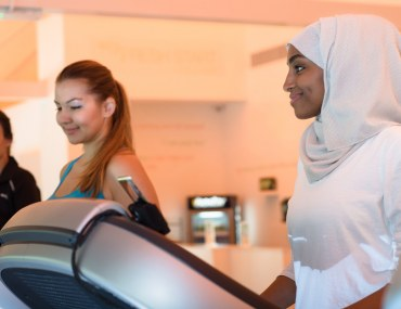 A gym featuring ladies working out on a treadmill in Dubai, UAE