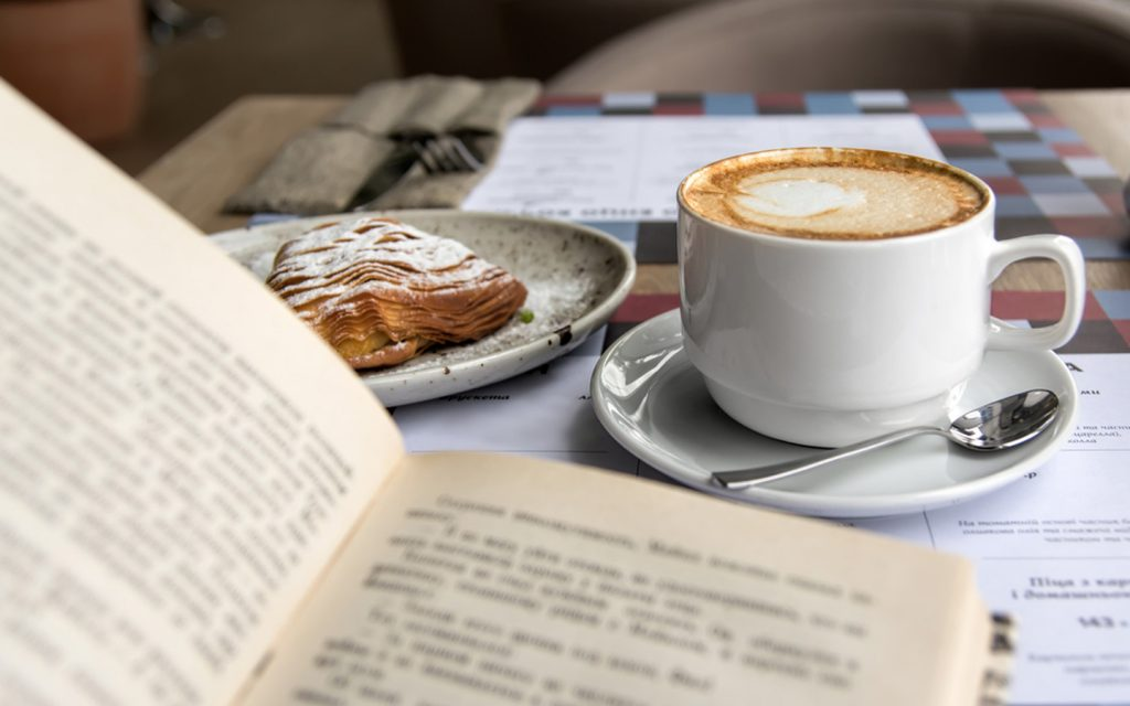 Reading at a cafe