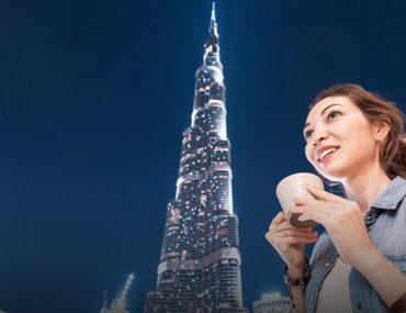 Having coffee in Downtown Dubai