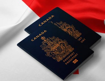 Canadian passport with Canadian flag in the background