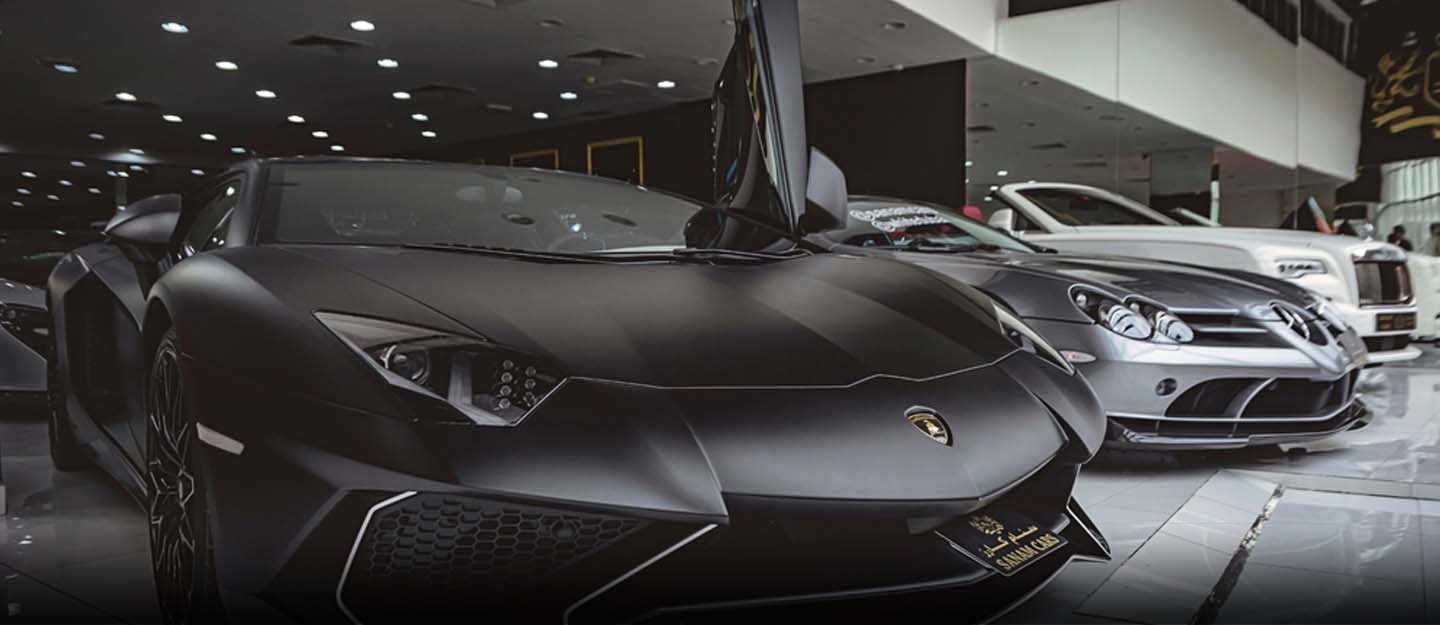 View of one of the car showrooms in Dubai