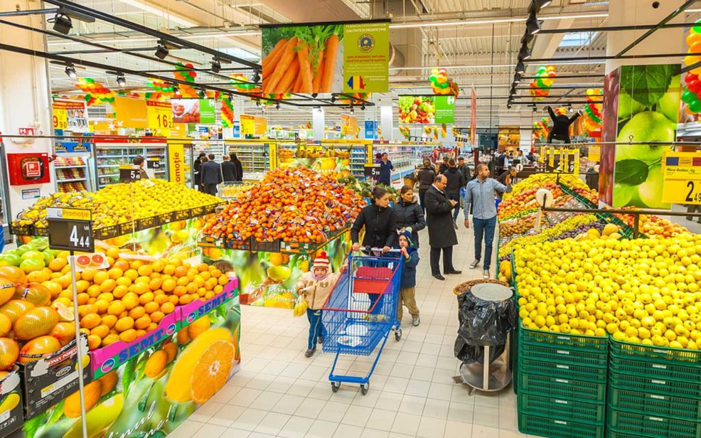 Carrefour stocks a variety of fresh fruits and vegetables.