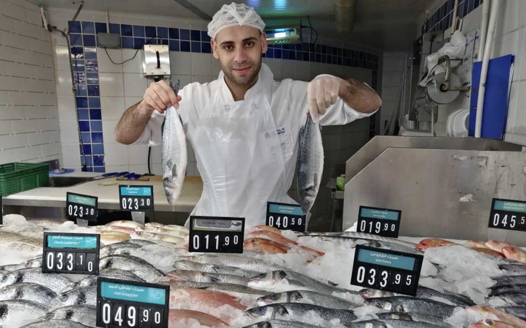 Carrefour fish corner is stocked with varieties seafood items