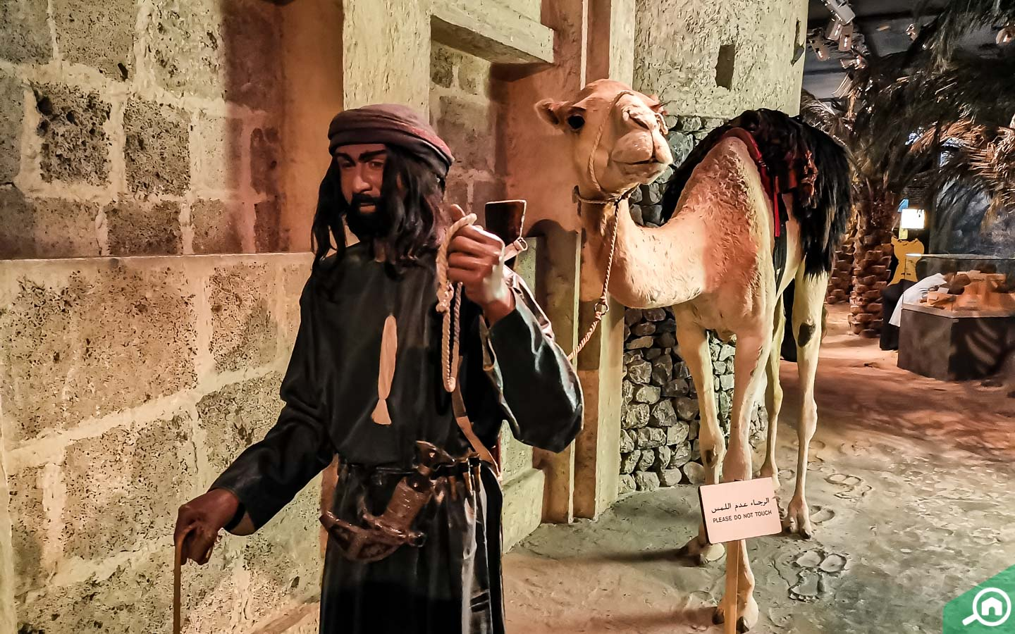 Diorama of an ancient Arab with a camel at the Dubai Museum