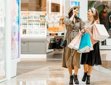 Women shopping at a mall