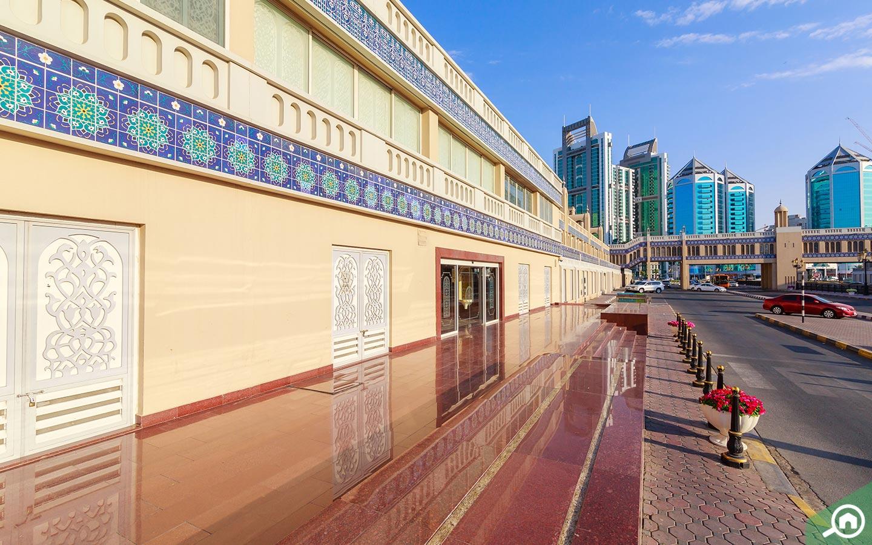 blue tiles on Central Souk Sharjah