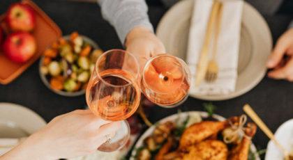Wine glasses on dinner table