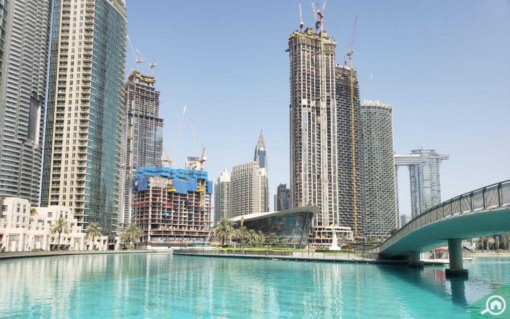Waterfront buildings in Downtown Dubai