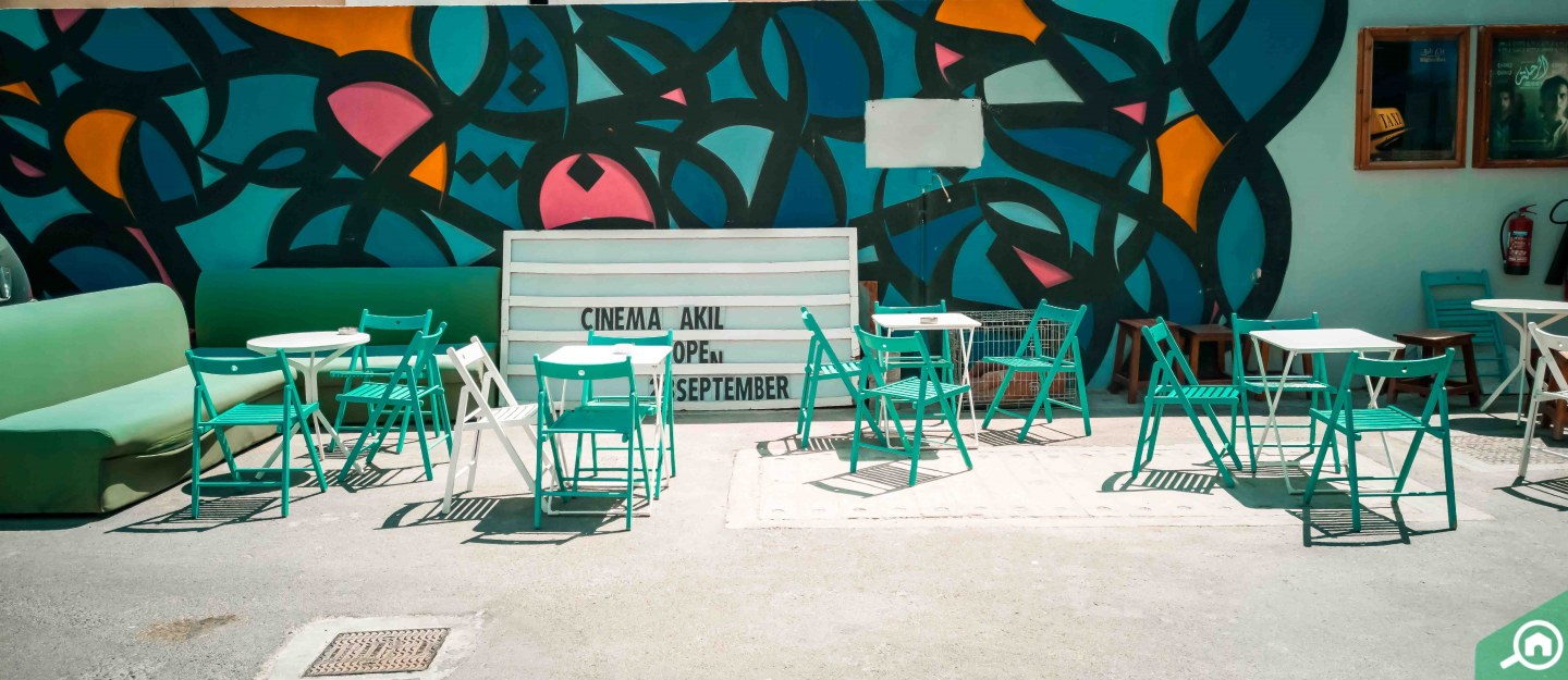 outdoor seating at Cinema Akil