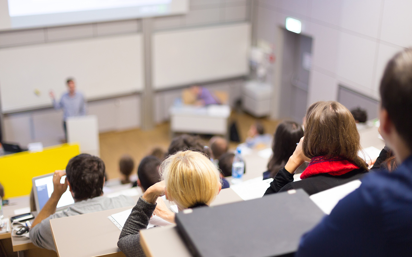 Students in a university classroom