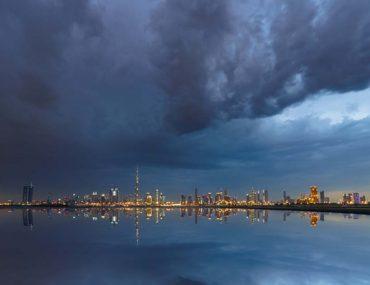 Thick rain clouds over Dubai skyline
