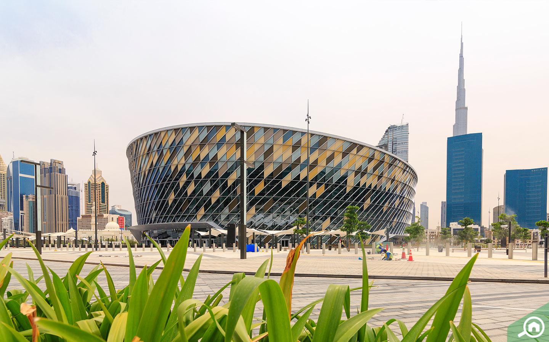 View of Coca Cola Arena Dubai with Burj Khalifa in the background