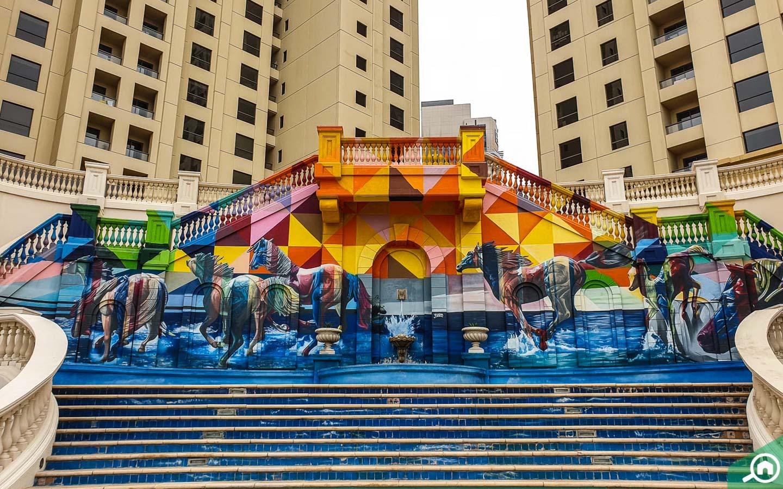 Colourful murals in JBR Walk